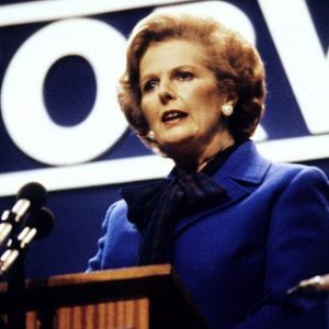 Prime Minister Margaret Thatcher addressing the Conservative Party Conference at Brighton.
